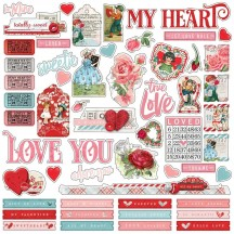 "Simple Stories Simple Vintage My Valentine 12""x12"" Combo Cardstock Stickers 11801"