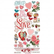 Simple Stories Simple Vintage My Valentine Self Adhesive Chipboard Shape Stickers 11823