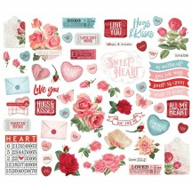 Simple Stories Simple Vintage My Valentine Bits & Pieces Die-Cut Cardstock Embellishments 11825