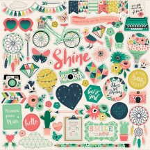 """Echo Park Just Be You 12""""x12"""" Element Shape Stickers JBY119014"""