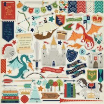 """Echo Park Once Upon a Time Prince 12""""x12"""" Element Shape Stickers OUB123014"""