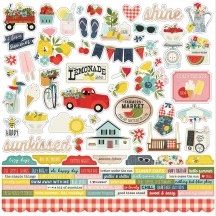 "Simple Stories Summer Farmhouse 12""x12"" Combo Element & Word Stickers 12601"