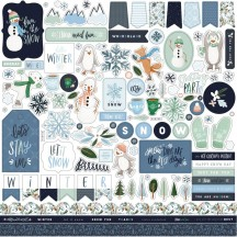 "Carta Bella Winter Market 12""x12"" Die-cut Cardstock Element Stickers WM126014"