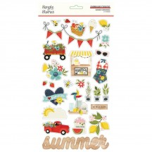 Simple Stories Summer Farmhouse Self Adhesive Chipboard Shape Stickers 12615