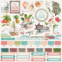 "Simple Stories Simple Vintage Coastal 12""x12"" Combo Element & Word Stickers 12701"