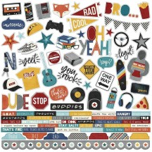 "Simple Stories Bro & Co 12""x12"" Combo Element & Word Stickers 13001"