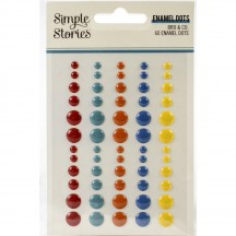 Simple Stories Bro & Co Enamel Dots red teal orange blue yellow 13021