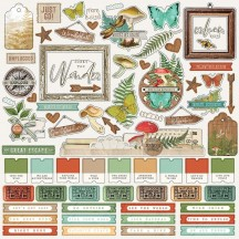 "Simple Stories Simple Vintage Great Escape 12""x12"" Combo Element & Word Stickers 13201"