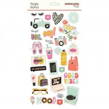 Simple Stories Kate & Ash Self Adhesive Chipboard Shape Stickers 13115