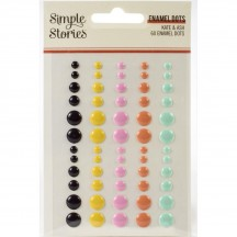 Simple Stories Kate & Ash Enamel Dots black yellow pink orange aqua 13121