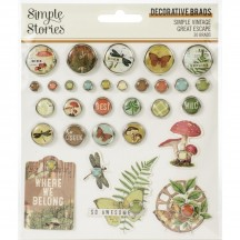Simple Stories Simple Vintage Great Escape Glazed Decorative Brads 13225