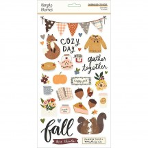 Simple Stories Cozy Days Self Adhesive Chipboard Shape Stickers 13515