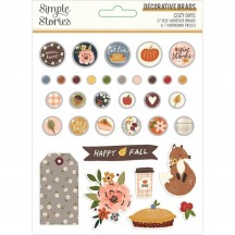 Simple Stories Cozy Days Glazed Decorative Brads & Chipboard Pieces 13522