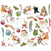 Simple Stories Simple Vintage North Pole Santa Bits & Pieces Die-Cut Cardstock Ephemera 13622