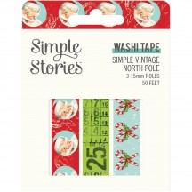 Simple Stories Simple Vintage North Pole Washi Tape 3 Roll Pack 13630