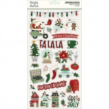 Simple Stories Jingle all the Way Christmas Self Adhesive Chipboard Shape Stickers 13715