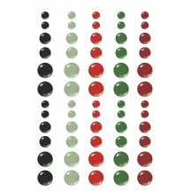 Simple Stories Jingle all the Way Christmas Enamel Dots black green red 13724