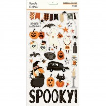 Simple Stories Boo Crew Halloween Self Adhesive Chipboard Shape Stickers 13814