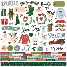 "Simple Stories Winter Cottage 12""x12"" Cardstock Stickers 13901"
