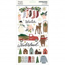 Simple Stories Winter Cottage Self Adhesive Chipboard Shape Stickers 13915