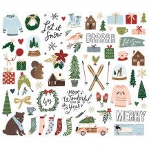Simple Stories Winter Cottage Christmas Bits & Pieces Die-Cut Cardstock Ephemera 13916