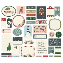 Simple Stories Winter Cottage Christmas Journal Bits Die-Cut Cardstock Ephemera 13917