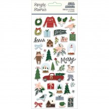 Simple Stories Winter Cottage Christmas Puffy Stickers 13921