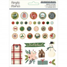 Simple Stories Winter Cottage Christmas Self Adhesive Decorative Brads 13922