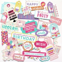 Echo Park Happy Birthday Girl Tags & Frame Ephemera Die Cut Cardstock Pieces HBG140021