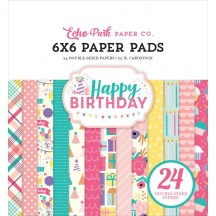 "Echo Park Happy Birthday Girl 6""x6"" Double-Sided Paper Pad 24 Sheets HBG140023"