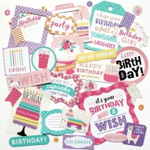 Echo Park Happy Birthday Girl Ephemera Die Cut Cardstock Pieces HBG140024