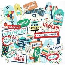 Echo Park Happy Birthday Boy Tags & Frame Ephemera Die Cut Cardstock Pieces HBB141021