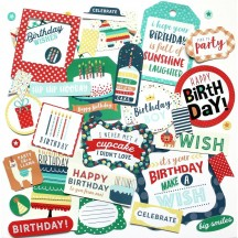 Echo Park Happy Birthday Boy Ephemera Die Cut Cardstock Pieces HBB141024