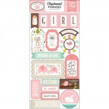 Echo Park Sweet Baby Girl Self Adhesive Chipboard Phrase Stickers SBG142022