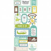 Echo Park Sweet Baby Boy Self Adhesive Chipboard Phrase Stickers SBB143022