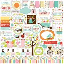 """Echo Park Hello Spring 12""""x12"""" Element Shape Stickers HES144014"""