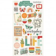 Simple Stories Hello Today Self Adhesive Chipboard Shape Stickers 14415