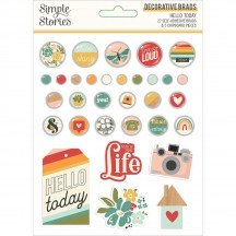 Simple Stories Hello Today Self-Adhesive Brads & Chipboard Pieces 14422
