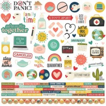 "Simple Stories Quarantined 12""x12"" Cardstock Element Stickers 14501"