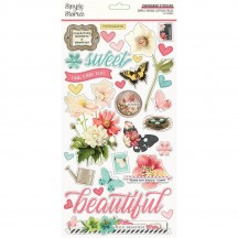 Simple Stories Simple Vintage Cottage Fields Self Adhesive Chipboard Shape Stickers 14720