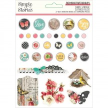 Simple Stories Simple Vintage Cottage Fields Self-Adhesive Brads & Chipboard Pieces 14727