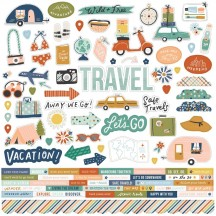 "Simple Stories Safe Travels 12""x12"" Cardstock Stickers 14801"