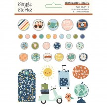 Simple Stories Safe Travels Self-Adhesive Brads & Chipboard Pieces 14822