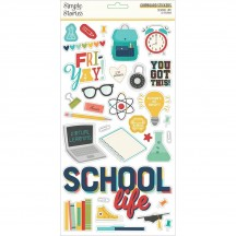 Simple Stories School Life Self Adhesive Chipboard Shape Stickers 14915