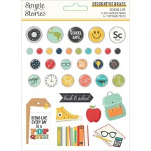Simple Stories School Life Self-Adhesive Brads & Chipboard Pieces 14922