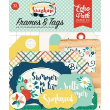 Echo Park Good Day Sunshine Tags & Frame Ephemera Die Cut Cardstock Pieces GDS14925
