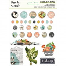Simple Stories Simple Vintage Farmhouse Garden Self-Adhesive Brads & Chipboard Pieces 15027