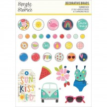 Simple Stories Sunkissed Self-Adhesive Brads & Chipboard Pieces 15121