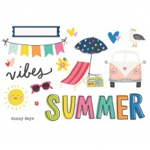 Simple Stories Sunkissed Summer Vibes Page Pieces Die-Cut Cardstock Embellishments 15126