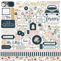 "Echo Park Just Married 12""x12"" Element Shape Stickers JM153014"